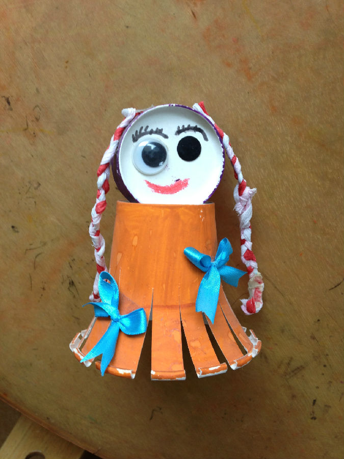 色纸,双面胶,固体胶等 制作方法: 1,拿取一个一次性纸杯,倒扣用作娃娃